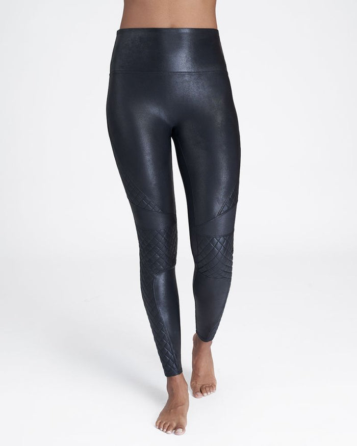 Spanx Faux Leather Quilted Leggings- Very Black