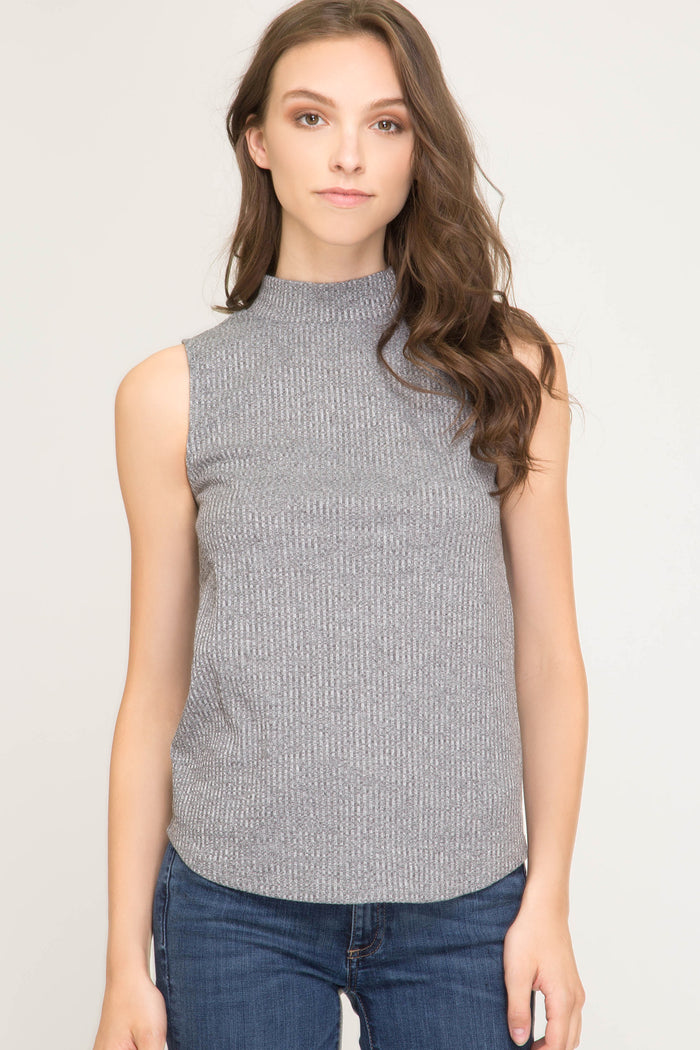 Sleeveless Mock Sweater - SL7842-GRY