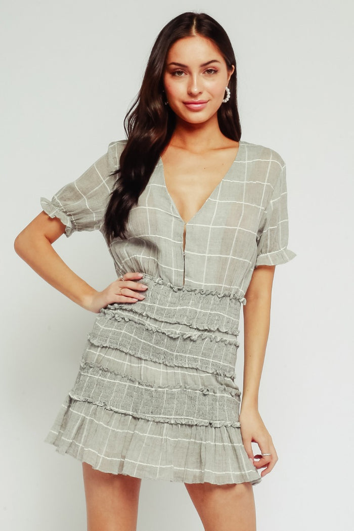 Plaid Smocked Dress- Grey and White- 29-698LDJ-GRY/WHT