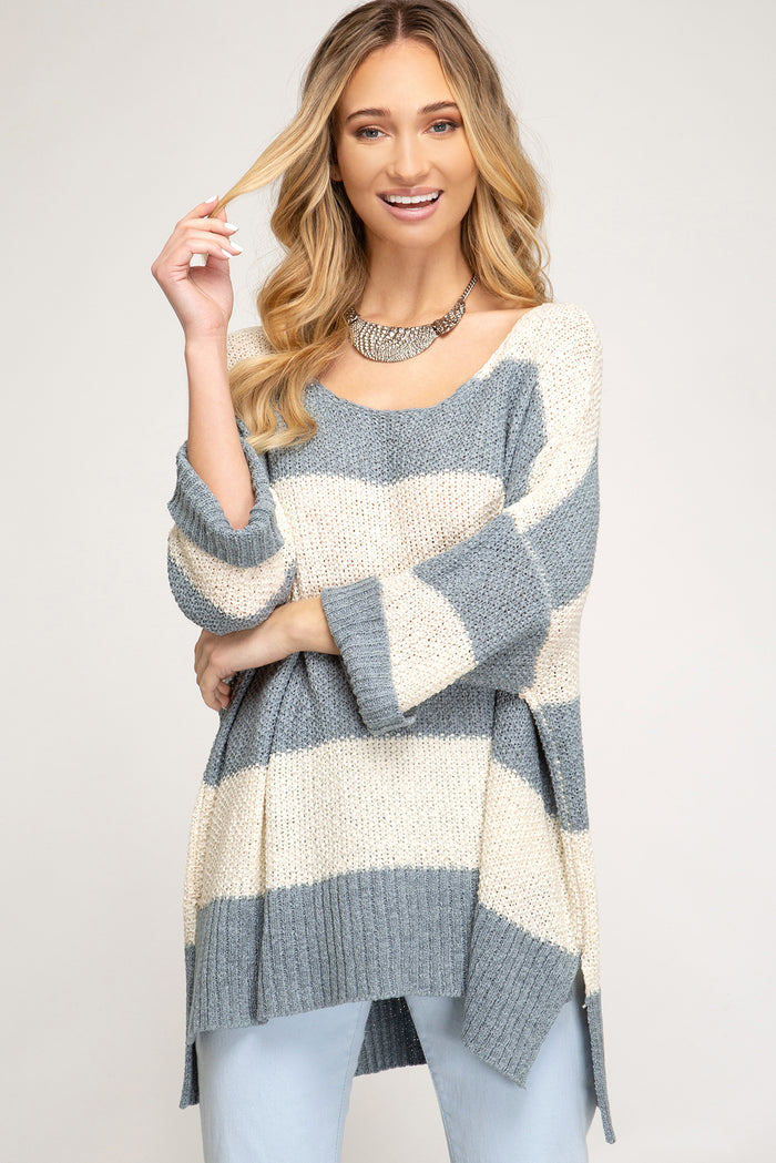 Stripes Go With Everything Sweater- Slate/Taupe- SS1246-SLA