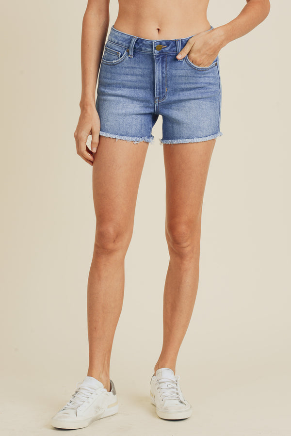 Just USA High Rise Short with Frayed Hem- JH210