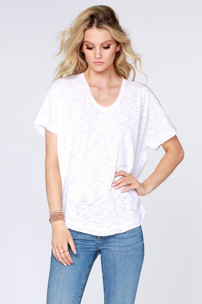 Bobi Raw Edge Dolman V-neck Tee
