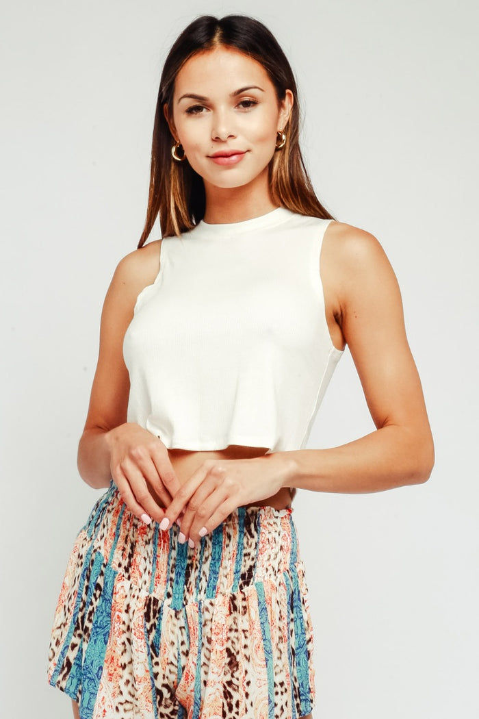 Keep It Short And Sweet Top- White- 59-144LTX-WHT