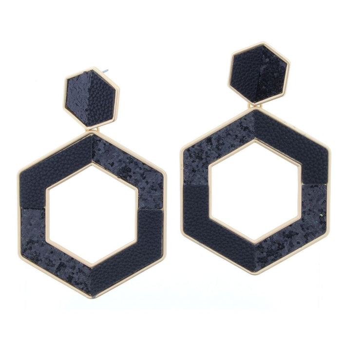 Black Hexagon Sequin Earring