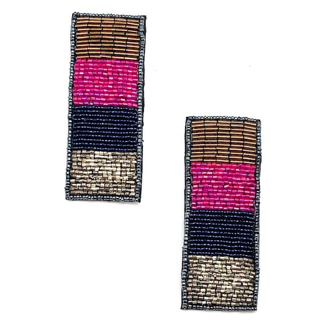 Chrome Beaded Bar Earrings