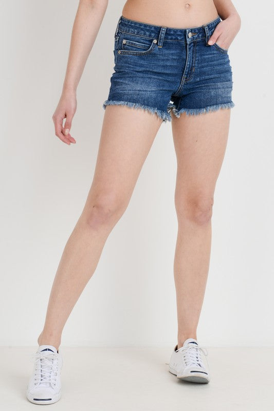 Just USA Mid Rise Frayed Hem Short