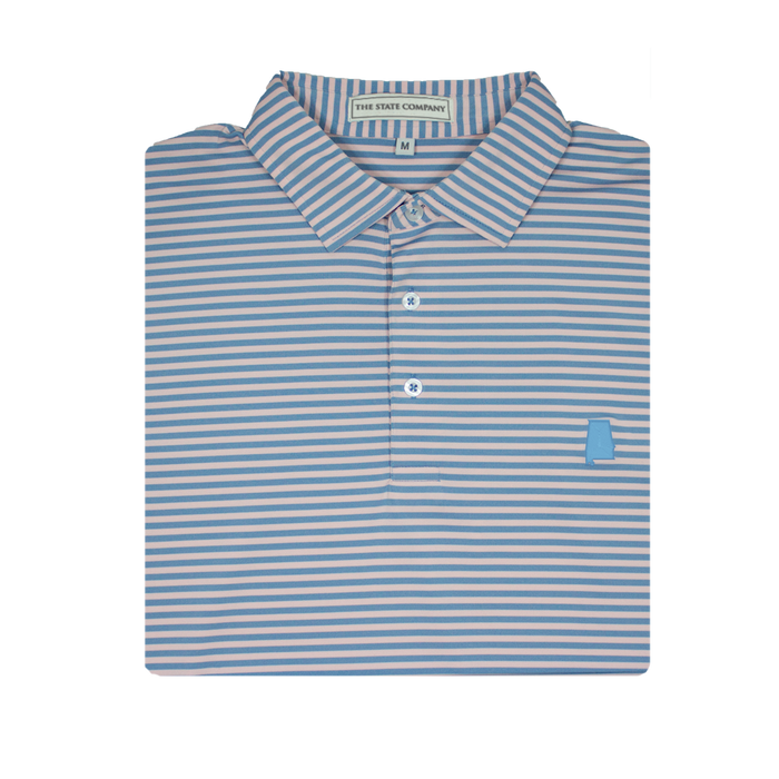 The State Company Honeysuckle Stripe Polo- Lake Blue/White - HONEYSUCKLE STRIPE-LAK/WHT