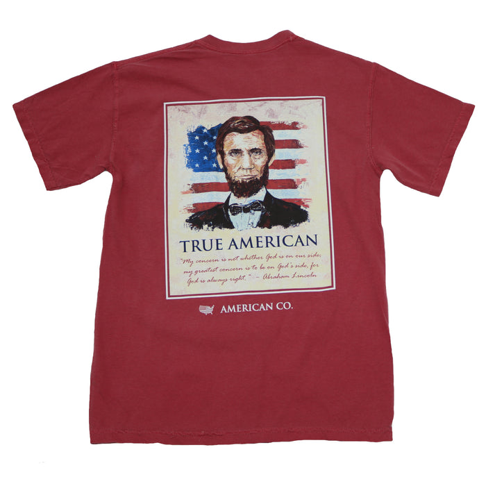 The State Company Abe Lincoln Tee- Crimson- ABE LINCOLN S/S- CRI