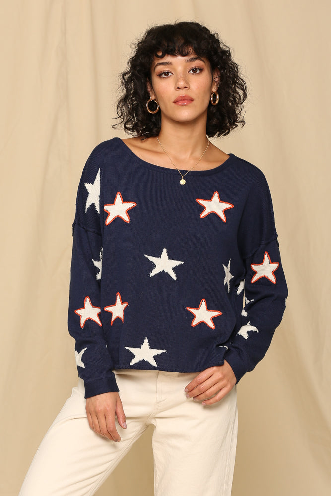 Eyes On The Stars Sweater- Navy- BL1040-NAVY