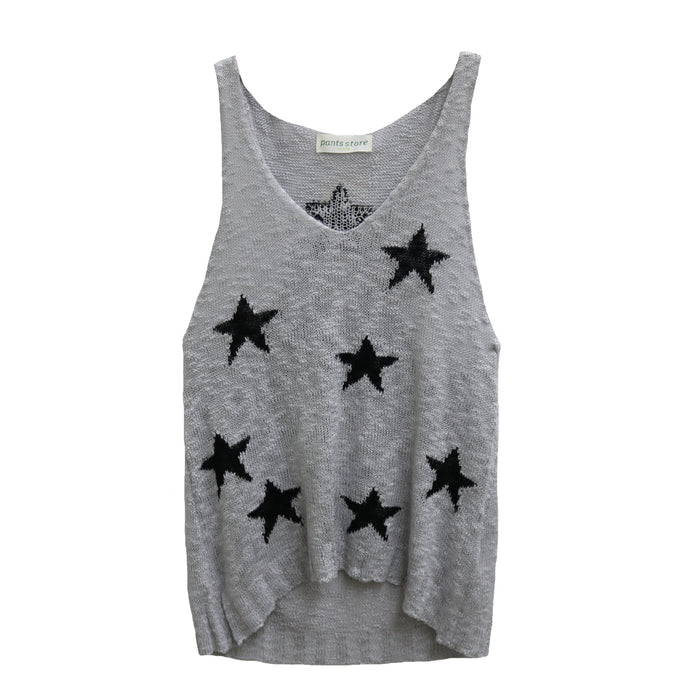 Oh My Stars Sweater Tank- Grey and Black- JT19-36-GRY/BLK