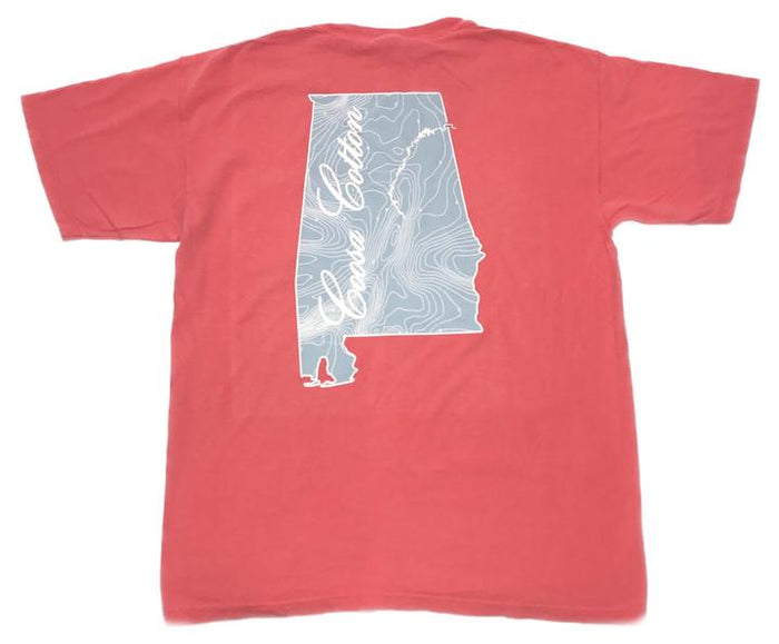 Coosa Cotton State Pocket Tee- Watermelon- COOSA STATE-WAT