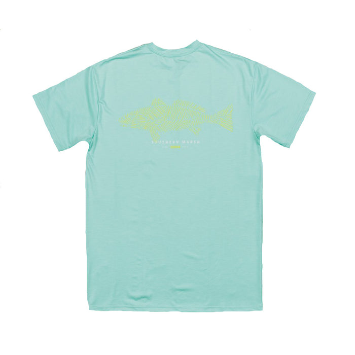 Southern Marsh Fieldtec Heather Performance Tee- Antigua Blue