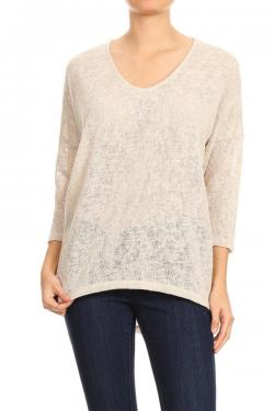Light As A Feather Knit Top- Taupe- FT-10102-TAU