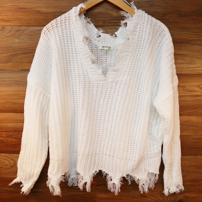 Friday Fringe Sweater- White- X12008-WHT