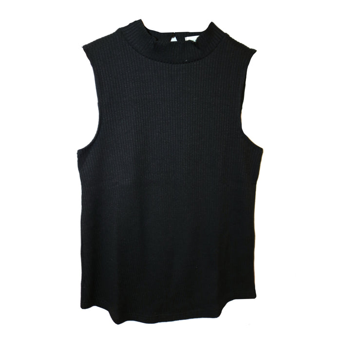 Sleeveless Mock Sweater - SL7842-BLACK