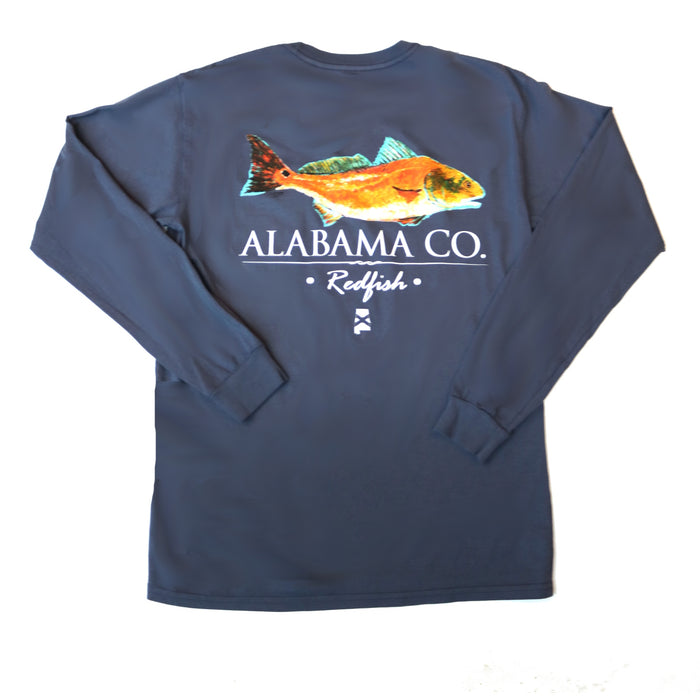 The State Company AL Redfish T-shirt  - AL REDFISH-L/S-NVY