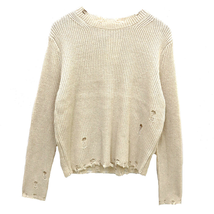 Distressed Mock Neck Sweater  - LW60234-CRE