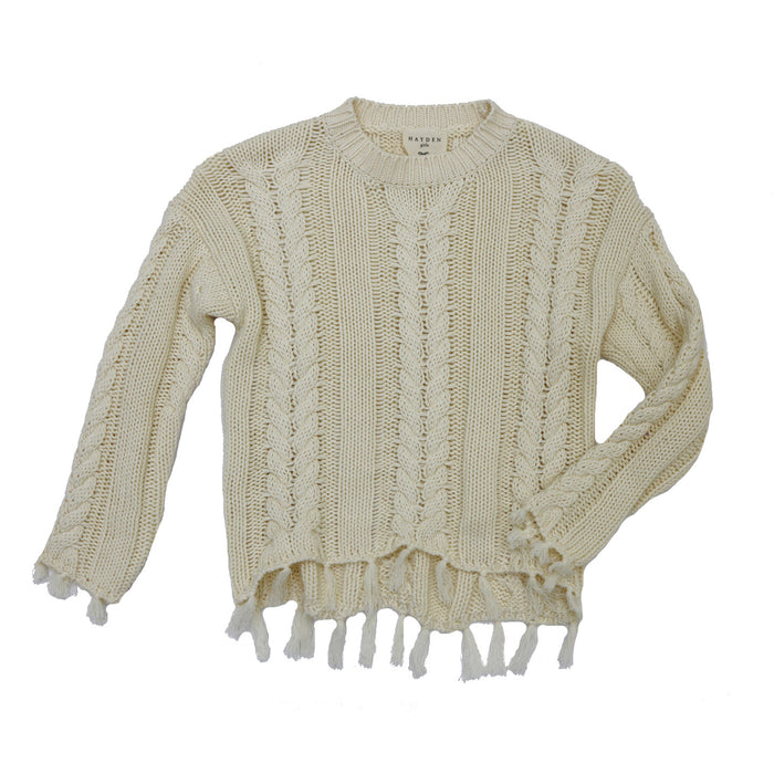 Girl's Cable Knit Tassel Sweater - G3983-IVY