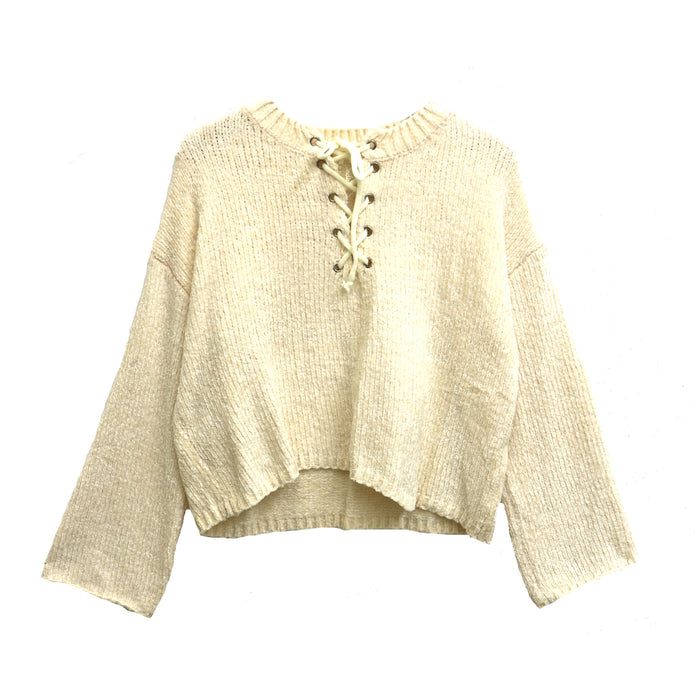 Lace Up Chenille Sweater - ACXT1177-IVY