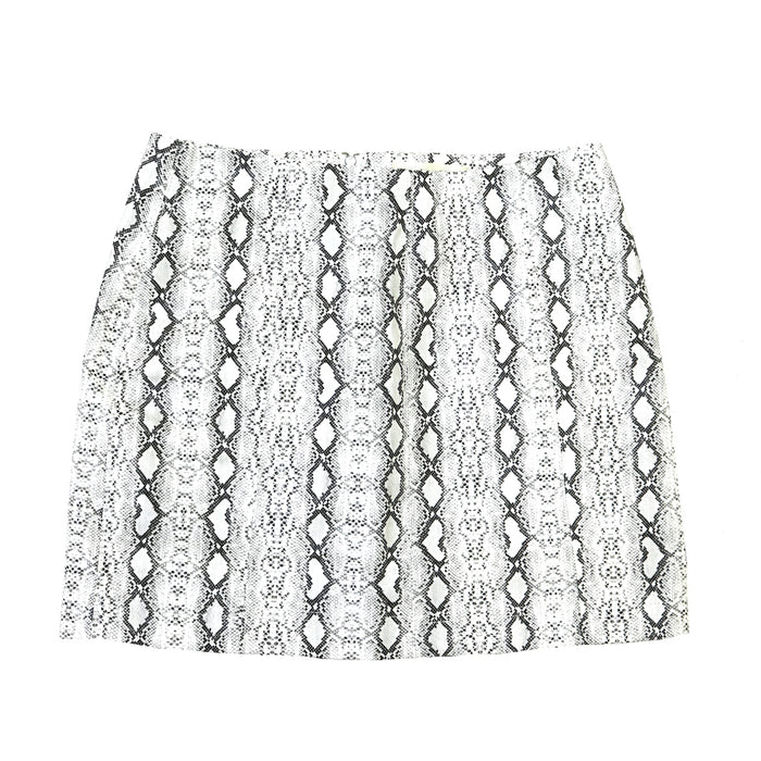 Winter Snake Skirt - NKS205401-WHT/BLK