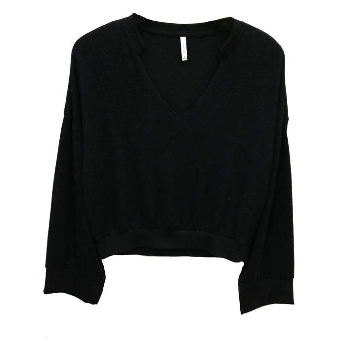Z Supply Sweater Knit Notch Front Top- Black- ZT191591-BLK