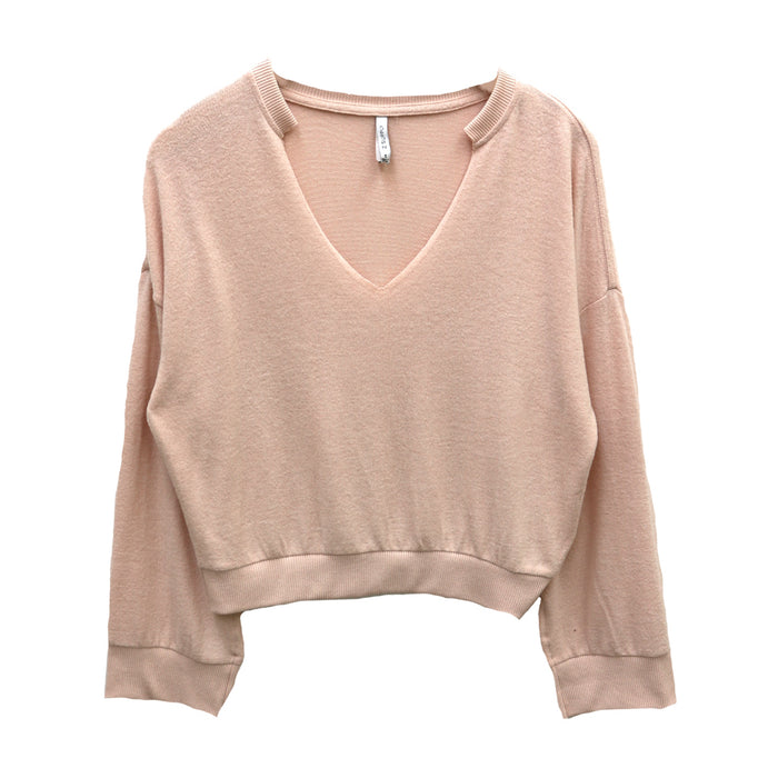 Z Supply Sweater Knit Notch Front Top- Peachskin- ZT191591-PCS