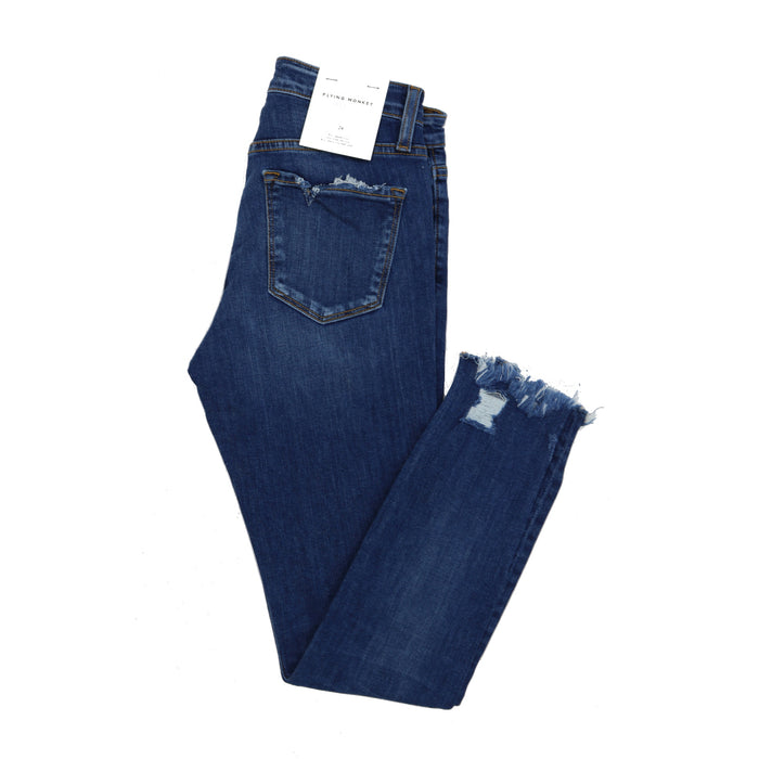 Mid Rise Uneven Raw Hem Jean  - Y2671-SHO