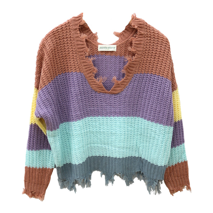 For the Love of Stripes Sweater- M9037-AMB