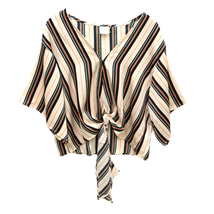 Striped in Satin Top- Ivory- L2819-IVY