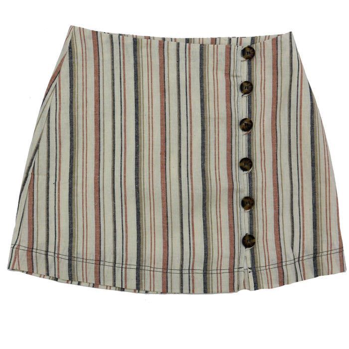 Striped High-waisted Skirt- L2548-TAU