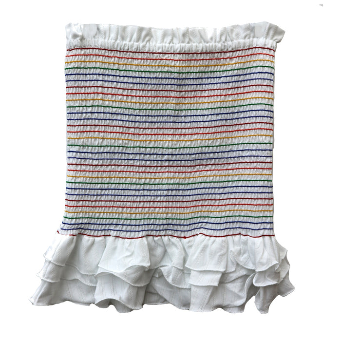 Over The Rainbow Elastic Skirt- Y16764-WHT