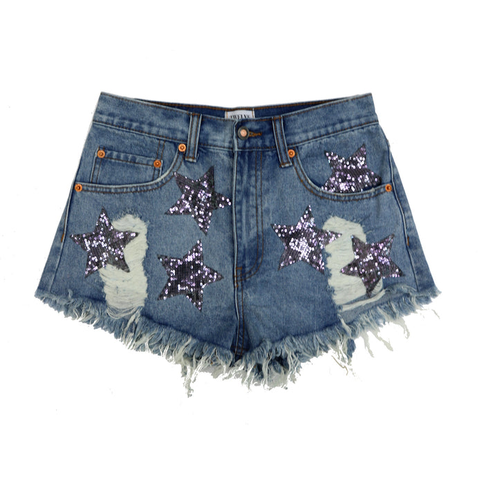 Moon Star Distressed Jean Shorts - TW80133-LT.SIL