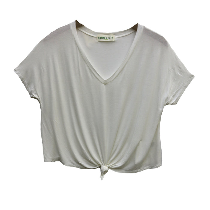 Back To Basics Knotted Top - DZ19F261-OWHT