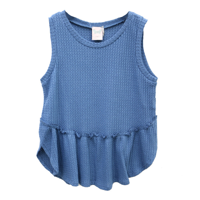 Girl's Spring Time Waffle Knit Tank- KTD1245-BLU