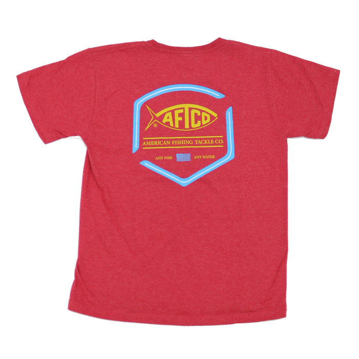 Youth Aftco Flipper S/S Tee- Red Heather- BT4233-REDH
