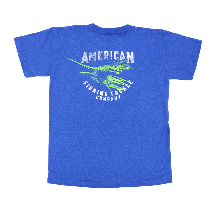 Youth Aftco Flipper S/S Tee- Royal Heather - BT4238-ROYH