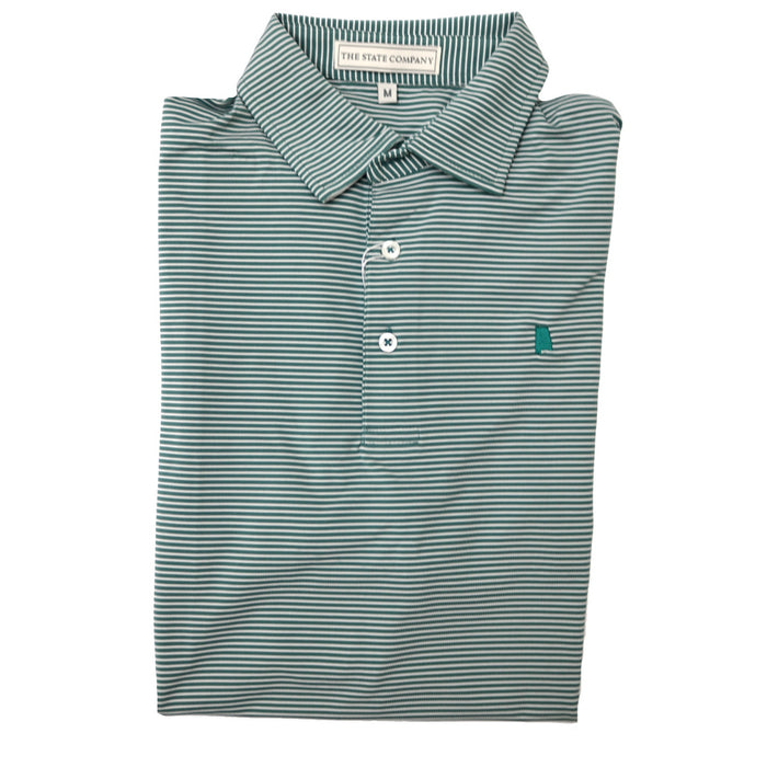 The State Company Azalea Stripe Polo- Sea Pine/White - AZALEA STRIPE-SEA/WHT