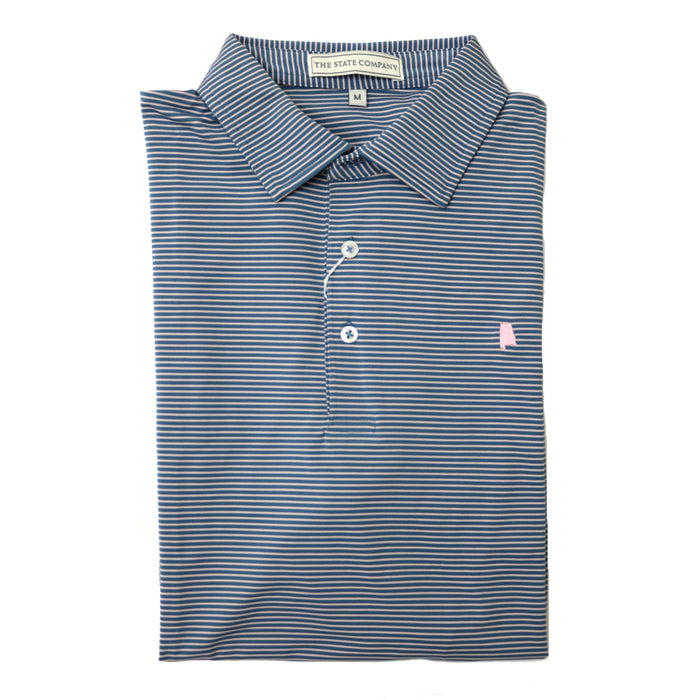 The State Company Azalea Stripe Polo-Ocean Blue/Soft Pink - AZALEA STRIPE-OCE/SOF