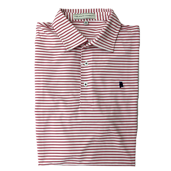 The State Company Honeysuckle Stripe Polo- Washed Red/Navy - HONEYSUCKLE STRIPE-WAS/NVY