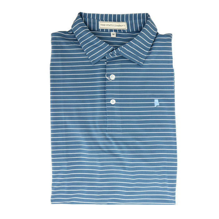 The State Company Stripe Polo- Ocean Blue/Ice Blue- MAGNOLIA STRIPE-OCE/ICE