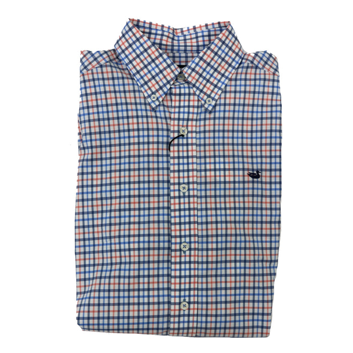 Southern Marsh Chambers Performance Button Down- Navy and Coral- CCBL-NVY