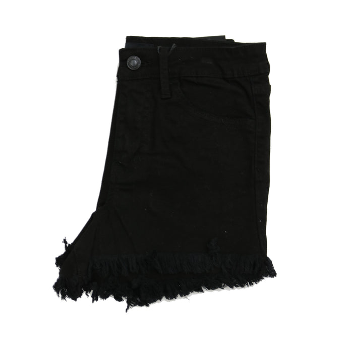 High Rise Frayed Hem Short- Black - VT401BK