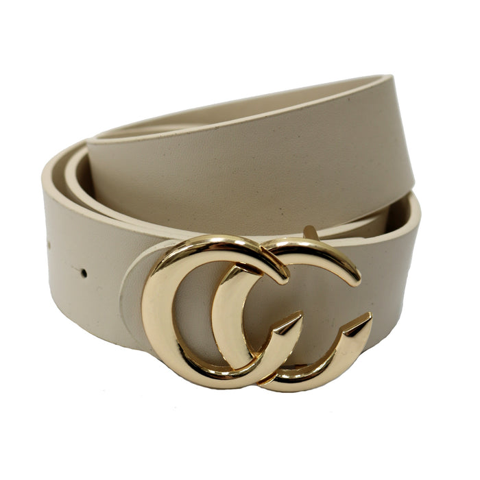 Wide Faux Leather Belt- Beige  - IW-3653