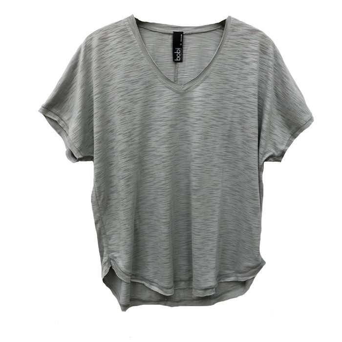 Bobi V-Neck Dolman Tee- Rock - 519-45604-ROC