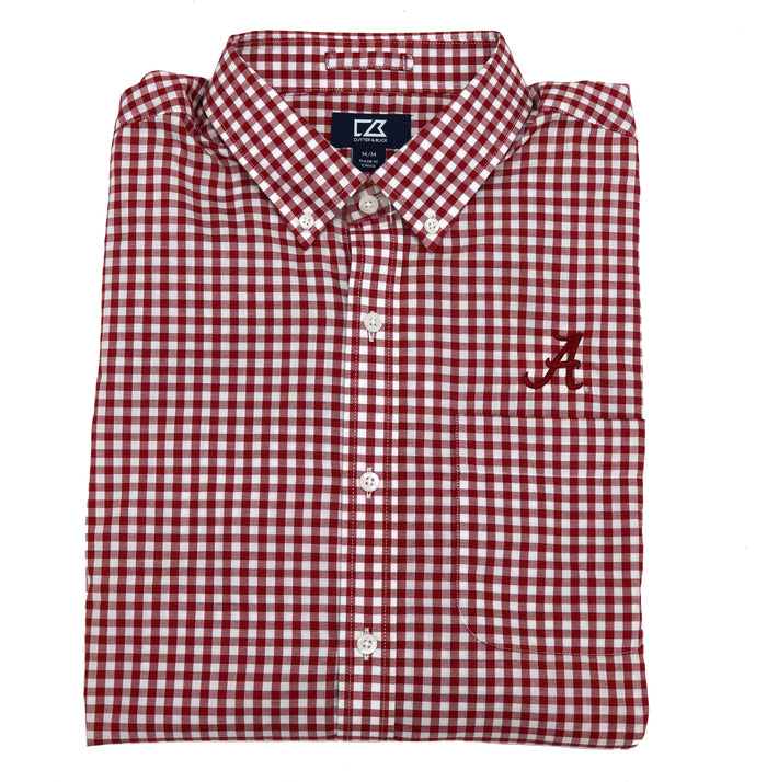 "Cutter & Buck L/S League Gingham Button Down- MCW00133CDR-""A"""