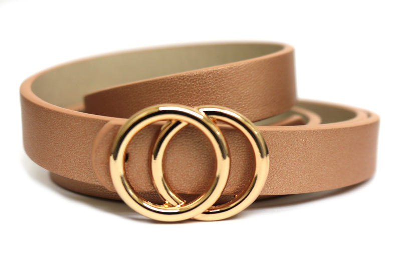 Faux Leather Double Circle Metallic Belt