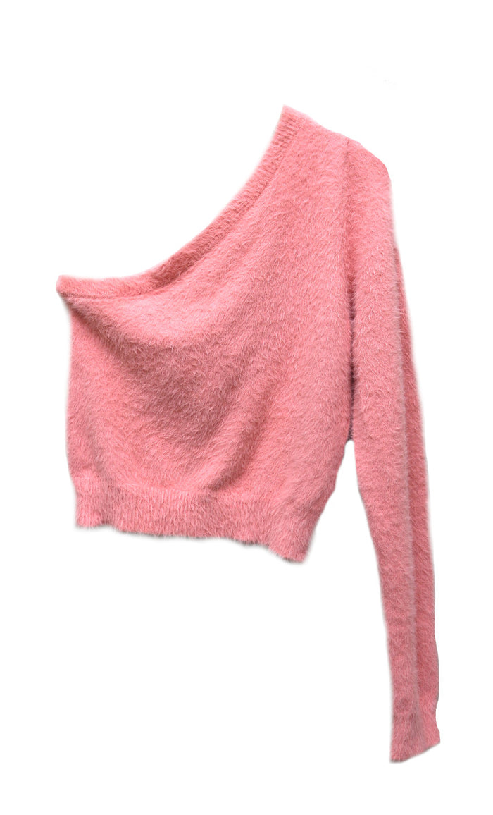 Tickled Pink One Shoulder Top