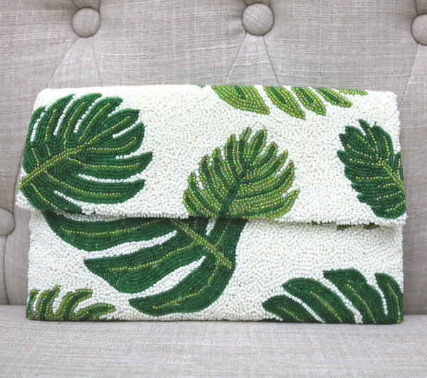 Half Flap Beaded Clutch