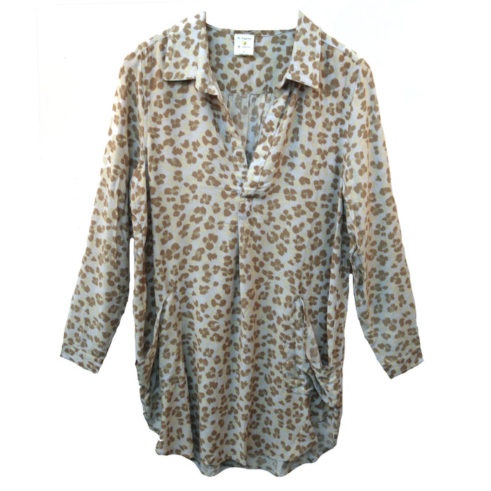 Lovely Leopard Shirt Dress- Blue
