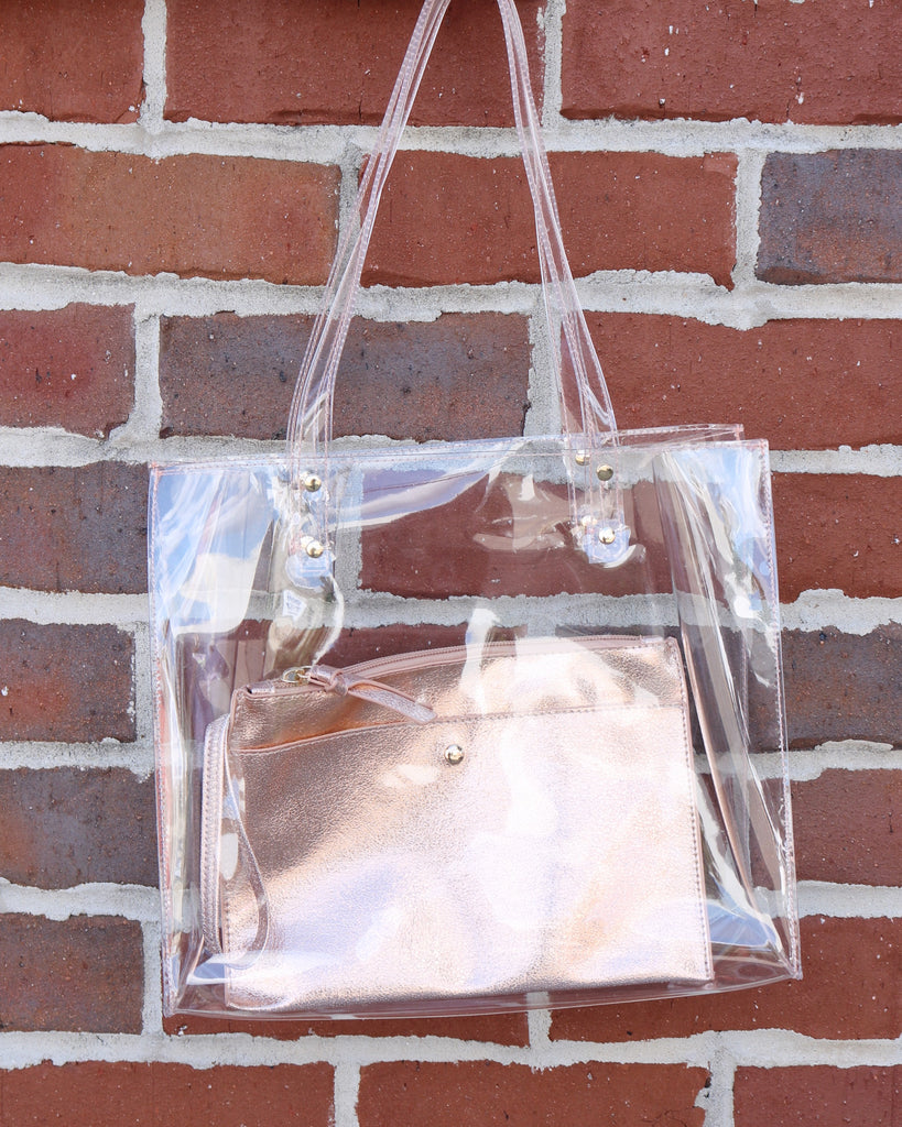 Arena Clear Tote- Rose Gold